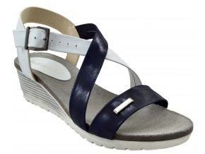 93 modrobílé zeus granat+bialy letní páskové sandálky vycházkové pohodlné moderní lehké na klínku
