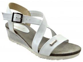 93 bílé biale letní páskové sandálky vycházkové pohodlné moderní lehké na klínku na svatbu