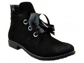 540 2 černá czarny nubuk dámské kožené podzimní kotníkové polobotky zateplené fleecem podzim zima