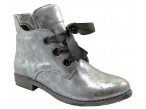 540 2 stříbrná zeus srebro dámské kožené podzimní kotníkové polobotky zateplené fleecem