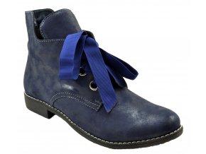 540 2 modrá zeus granat hladká kůže dámské kožené podzimní kotníkové polobotky zateplené fleecem zavazování 1