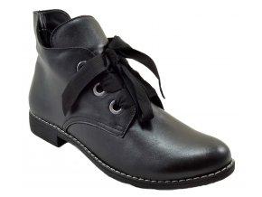540 2 černá czarny hladká kůže dámské kožené podzimní kotníkové polobotky zateplené fleecem zavazování
