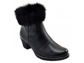 632 3 černá czarny kotníkové polobotky na podpatu zip s ozdobou zateplené podzimní zimní