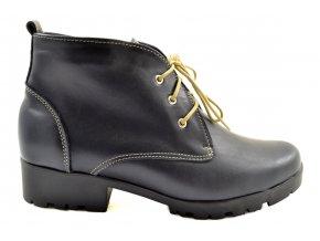 Modré kožené kotníkové boty na hrubší podešvi
