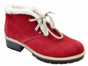 545 cervena bordo nubuk damske kozene podzimni zimni nizke polobotky na zavazovani zateplene oveckou teple lehke levne