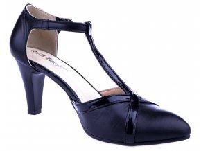hjkP136 černá czarny lakier kožené lodičky pásek kolem kotníku stabilní levné pěkné podpatku taneční