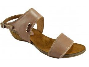 45 Dámské kožené hnědé sandálky na klínku