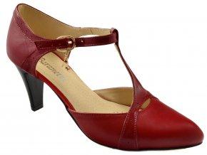 62 dámské červené kožené lodičky s páskem pres nárt
