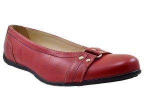 PS243 damské kožené baleríny nadměrné červené