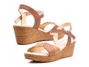 kozené hnědé sandály na klínové podešvi klín 1