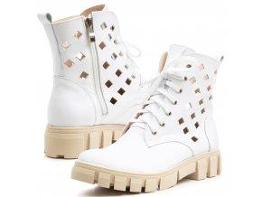 Kožené dámské kotníkové boty na hrubé podešví perforace bílá 1