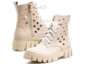 Kožené dámské kotníkové boty na hrubé podešví perforace béžová 1