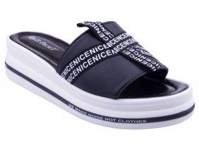 K206 czarny cerne kozene sandale nazouvaky doprava zdarma mekke pohodlne sexy