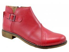 539 červená polobotka kotníková obuv na zip moderní