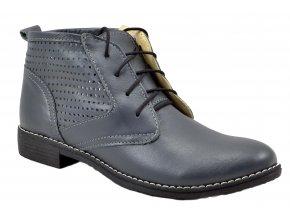 620 šedá kotníková obuv na zavazování dírky perforované módní