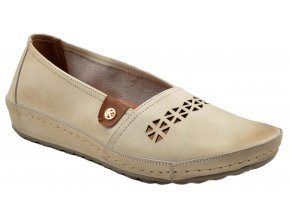 77L2 6006BL bežové mokasíny perforovaná kůže elegantní moderní sportovní obuv klínek