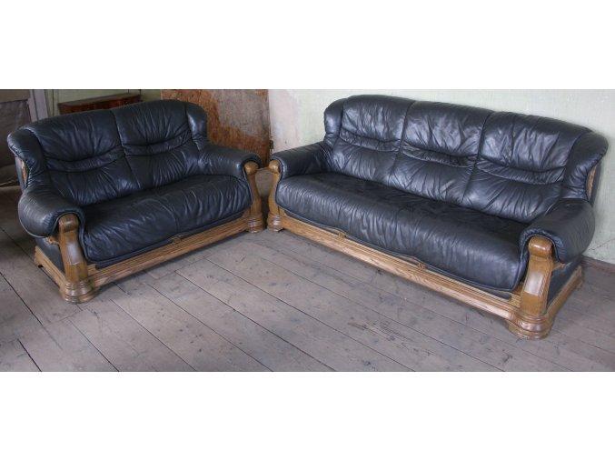 Luxusní dubová rustikální kožená sedací soupr. 3+2, antracit
