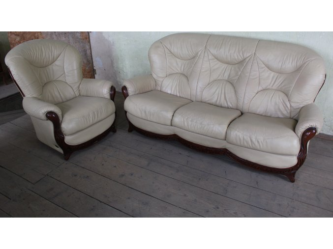Luxusní italská kožená sedací souprava 3+1 zn. Niery, bílá