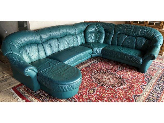 Luxusní kožená sedací souprava ve tvaru U, zelená