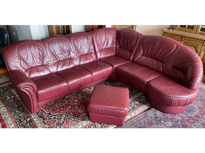Luxusní rohová kožená sedací souprava, bordeaux