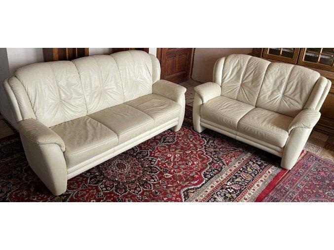 Luxusní kožená sedací souprava v provedení 3+2, slonová kost