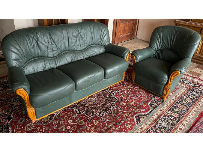 Luxusní italská kožená sedací souprava 3+1, zelená
