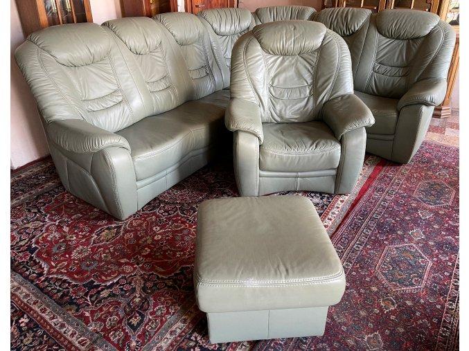 Luxusní rohová kožená sedací souprava, křeslo, taburet