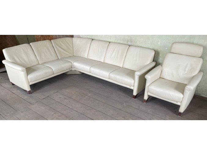 Luxusní rohová kožená sedací souprava + křeslo, 210x270cm