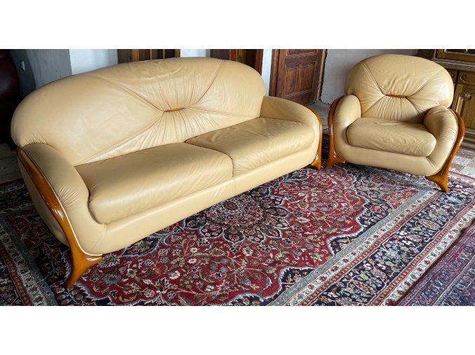 Luxusní italská kožená sedací souprava 3+1, značky NIERI