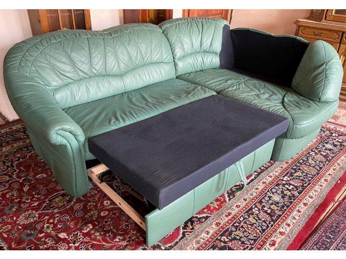 Rohová rozkládací kožená sedací souprava, úložný prostor, zelená