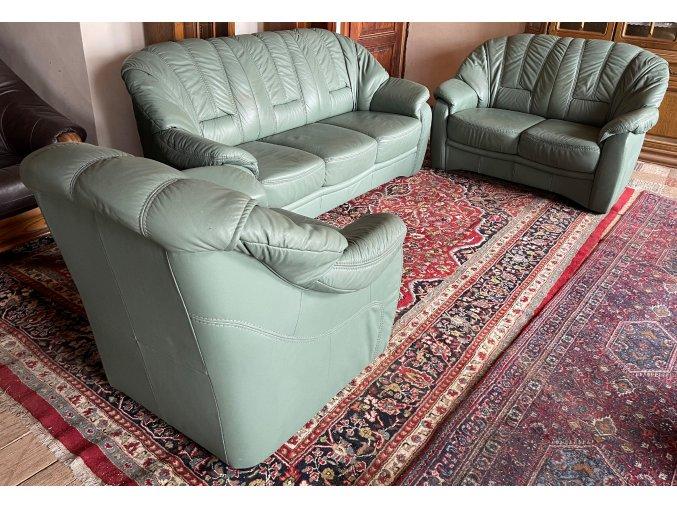 Luxusní kožená sedací souprava 3+2+1, zelená