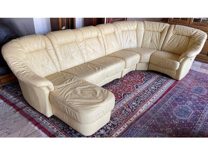 Luxusní kožená sedací souprava ve tvaru U