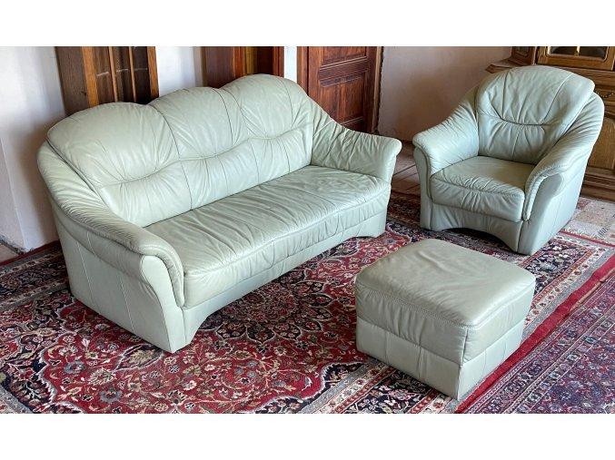 Luxusní kožená sedací souprava 3+1+taburet, světle zelená