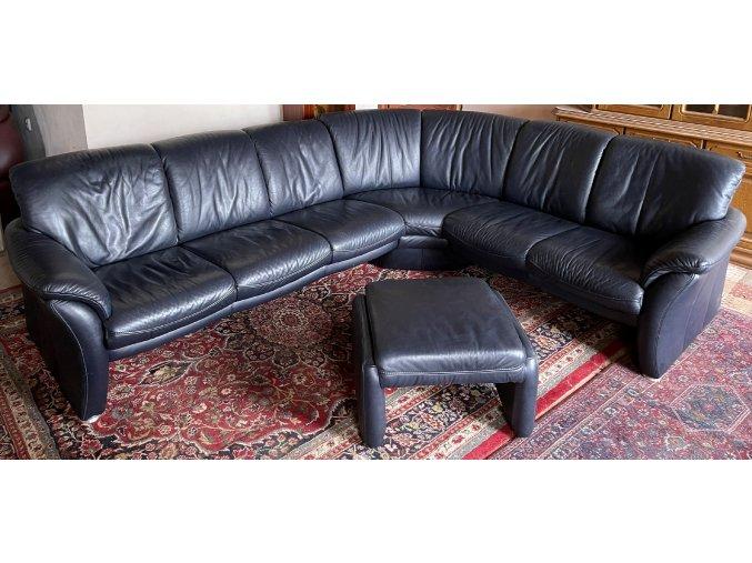 Luxusní kožená sedací souprava + taburet, tmavě modrá