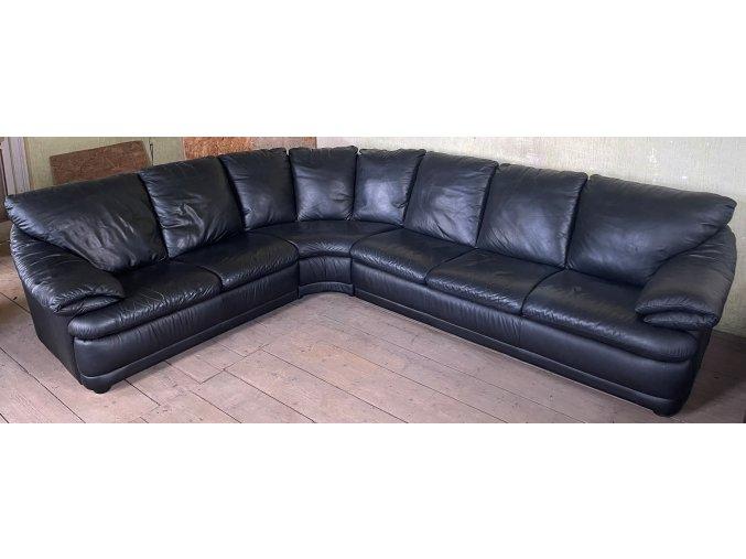 Luxusní moderní rohová kožená sedací souprava, černá