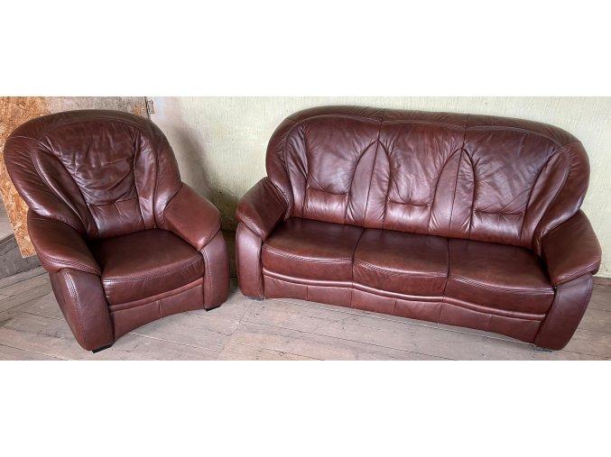 Luxusní kožená sedací souprava 3+1, hnědá