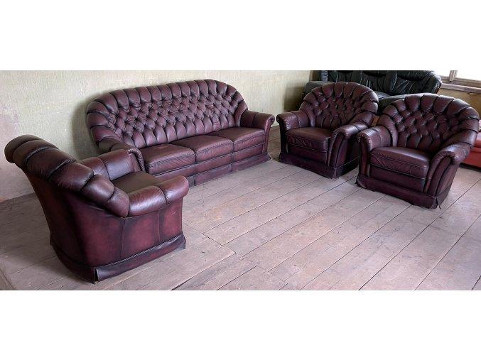 Luxusní kožená sedací souprava 3+1+1+1, styl CHESTERFIELD