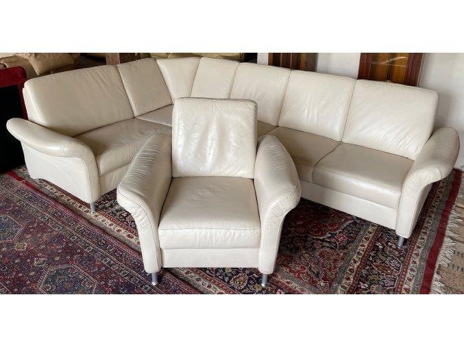 Luxusní moderní rohová kožená sedačka s křeslem 205x300cm