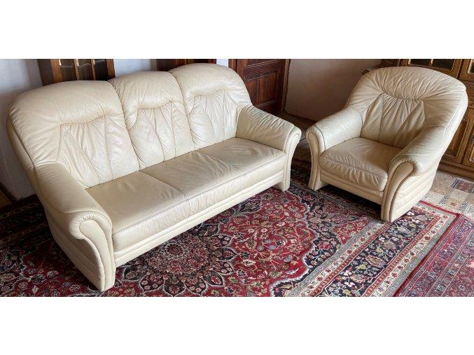 Luxusní kožená sedací souprava 3+1, světlá