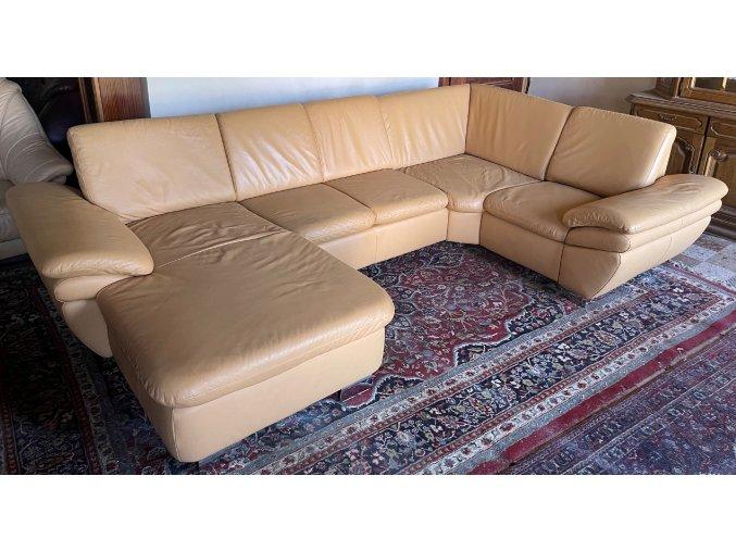 Luxusní moderní kožená sedací souprava - tvar U