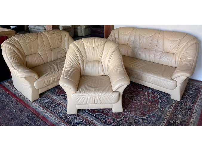 Luxusní kožená sedací souprava 3+2+1, béžová
