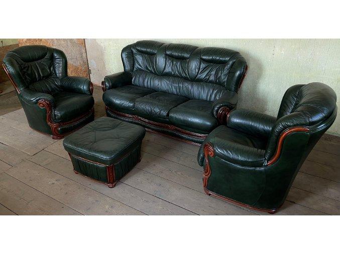 Luxusní rozkládací italská kožená sedací souprava 3+1+1+tab.