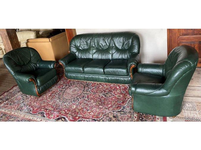 Luxusní italská kožená sedací souprava 3+1+1, zelená