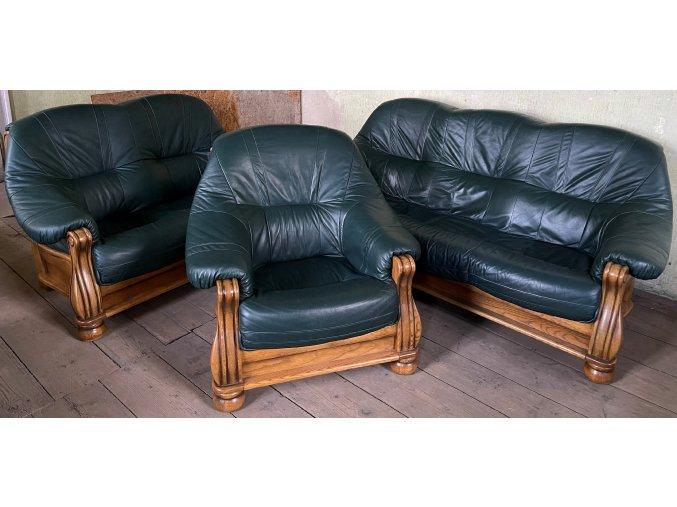 Dubová rustikální kožená sedací souprava 3+2+1, tmavě zelená