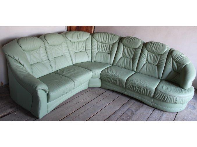 Luxusní rohová kožená sedací souprava, pistáciová