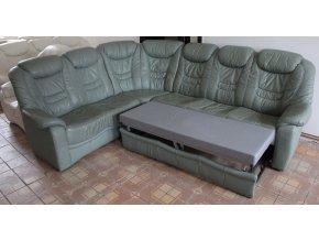 Luxusní rohová rozkládací kožená sedací souprava
