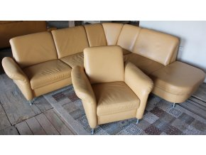 Luxusní rohová kožená sedací souprava + křeslo