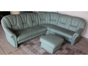 Rohová kožená sedací souprava + taburet
