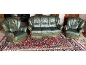 Luxusní italská kožená sedací souprava 3+1+1, NIERI, zelená