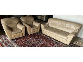 Luxusní moderní kožená sedací souprava 3+1+1, capuccino